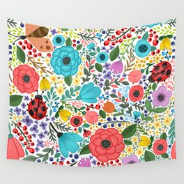 Colorful Vintage Spring Flowers Wall Tapestry