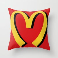 moschino Throw Pillows featuring McDonald's MOSCHINO by RickyRicardo787