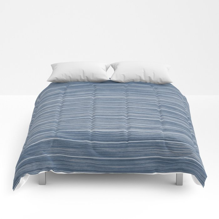 Dark Pastel Blue Whitewashed Beach Hut Cladding Comforters