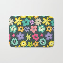 Artistic hand painted teal yellow violet floral illustration Bath Mat
