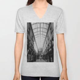 Deep perspective   Glass ceiling in old gallery of Bordeaux   Architectural Photography Unisex V-Neck