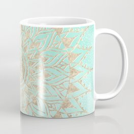 Mint and gold mandala Coffee Mug