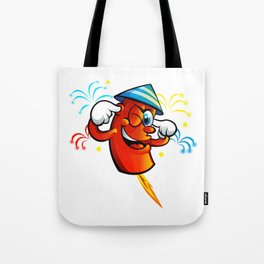 Red Cartoon fireworks  Tote Bag