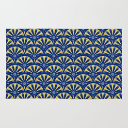 Art Deco Fan in blue and gold Rug