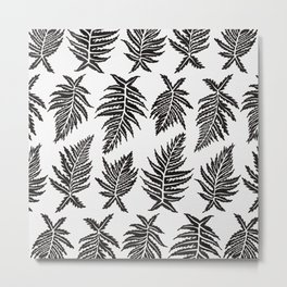 Inked Ferns – Black Palette Metal Print