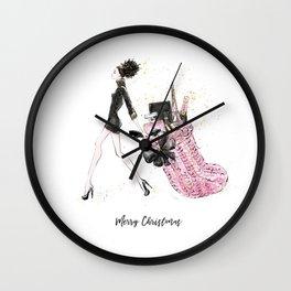 Merry Christmas Fashion Print - Curly Hair Option Wall Clock