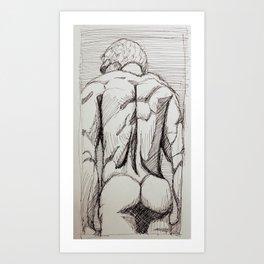 Male Back Sketch Art Print