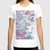 boston T-shirts featuring Boston map by MapMapMaps.Watercolors