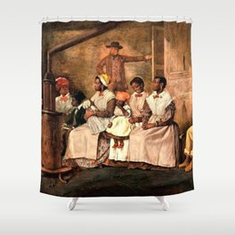 "Classical Masterpiece: Eyre Crowe's ""Slaves Waiting for Sale"" (1861) Shower Curtain"