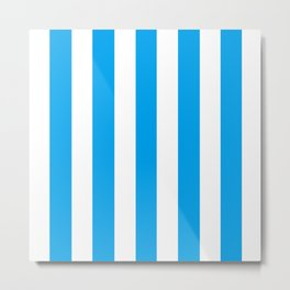 Microsoft blue - solid color - white vertical lines pattern Metal Print