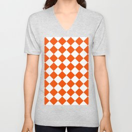 Large Diamonds - White and Dark Orange Unisex V-Neck
