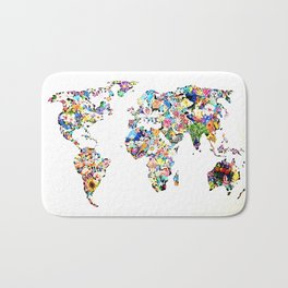 World map full of flowers and birds Bath Mat