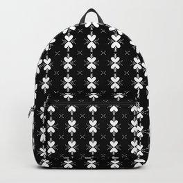 Heart Folk Art Black and White Repeat Pattern Backpack
