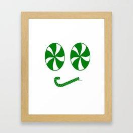 Grumpy Green Peppermint Emoji Face - Rasha Stokes Framed Art Print