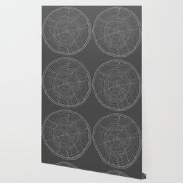 Tree rings grey Wallpaper