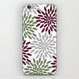 Floral Petals in Sage Green, Wine Red and Grey iPhone Skin
