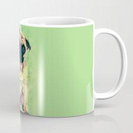 Cute Pug dog on gentle green Coffee Mug
