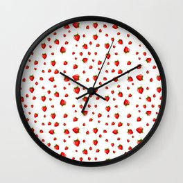 white little strawberry pattern Wall Clock