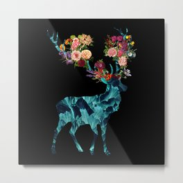 Sprint Itself Deer Floral Dark Metal Print