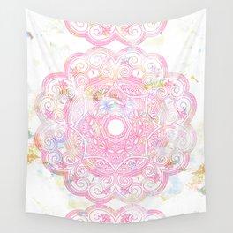 Pastel pink mandala ornament design Wall Tapestry