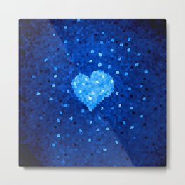 Winter Blue Crystallized Abstract Heart Metal Print
