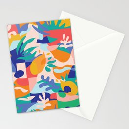 Amalfi Abstraction Pattern / Colourful Modern Shapes Stationery Cards