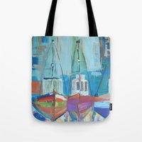boats Tote Bags featuring boats by melissa lyons