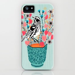 Tea and Flowers - Black and White Warbler by Andrea Lauren iPhone Case