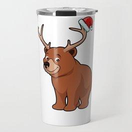 bear brown antler stag christmas deer Travel Mug