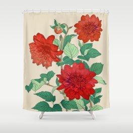 Red dahlias Shower Curtain