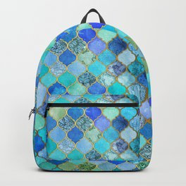 Cobalt Blue, Aqua & Gold Decorative Moroccan Tile Pattern Backpack