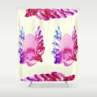 native american Shower Curtains featuring Native American Indian Pattern by Pepita Selles