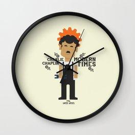 Modern Times, Charlie Chaplin, minimal movie poster, classic film, Charlot playbill Wall Clock