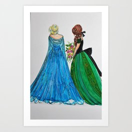 Queen Elsa & Princess Anna Art Print