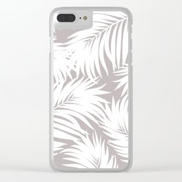 Palm Tree Fronds White on Soft Grey Hawaii Tropical Décor Clear iPhone Case