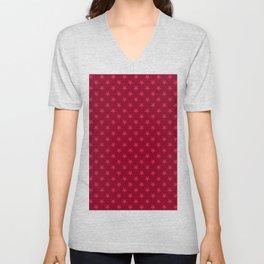 Crimson Red on Burgundy Red Stars Unisex V-Neck