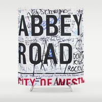 downton abbey Shower Curtains featuring Abbey Road by Maioriz Home