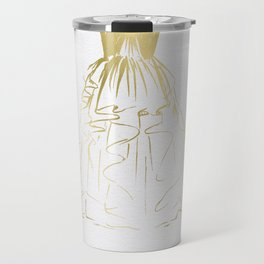 Little Gold Ball Gown Dress Travel Mug