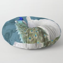 White Peacock and Blue Peacock Bird A732 Floor Pillow
