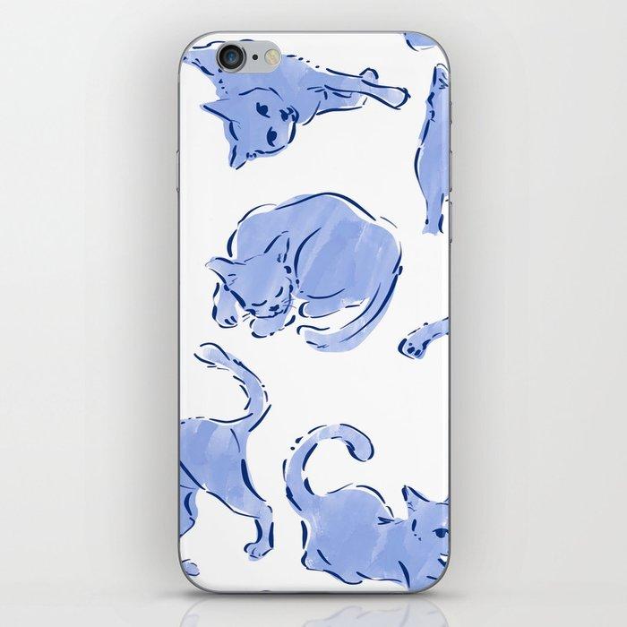 Cat Crazy blue white iPhone Skin