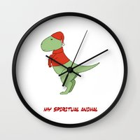 trex Wall Clocks featuring trex dinosaur funny arms by captainkittyspa