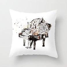 Piano, vintage watercolor piano Throw Pillow