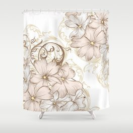 Classic pastel pattern with flowers Shower Curtain