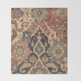 Geometric Leaves I // 18th Century Distressed Red Blue Green Colorful Ornate Accent Rug Pattern Throw Blanket