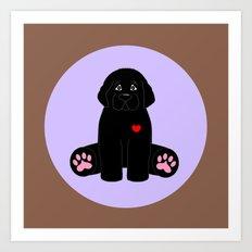 Stuffed Black Dog Art Print