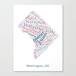 Word Cloud - Washington DC Canvas Print
