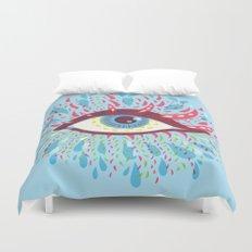 Weird Blue Psychedelic Eye Duvet Cover