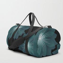 Blue flower on a black background . Duffle Bag