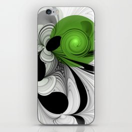 Abstract Black and White with Green iPhone Skin