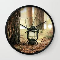 camping Wall Clocks featuring camping by katelyndee